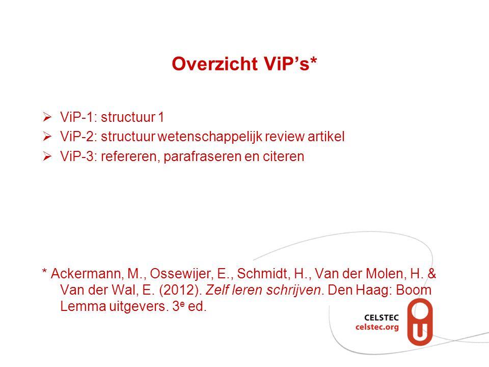 Overzicht ViP's*  ViP-1: structuur 1  ViP-2: structuur wetenschappelijk review artikel  ViP-3: refereren, parafraseren en citeren * Ackermann, M., Ossewijer, E., Schmidt, H., Van der Molen, H.