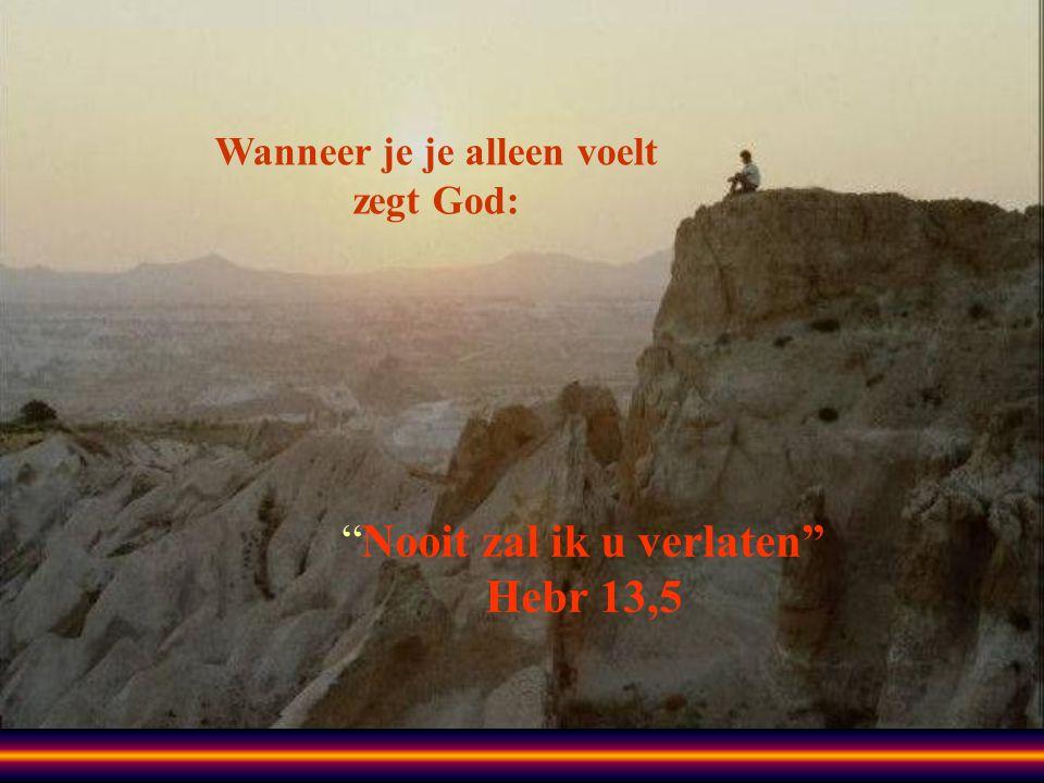 Wanneer je je alleen voelt zegt God: Nooit zal ik u verlaten Hebr 13,5