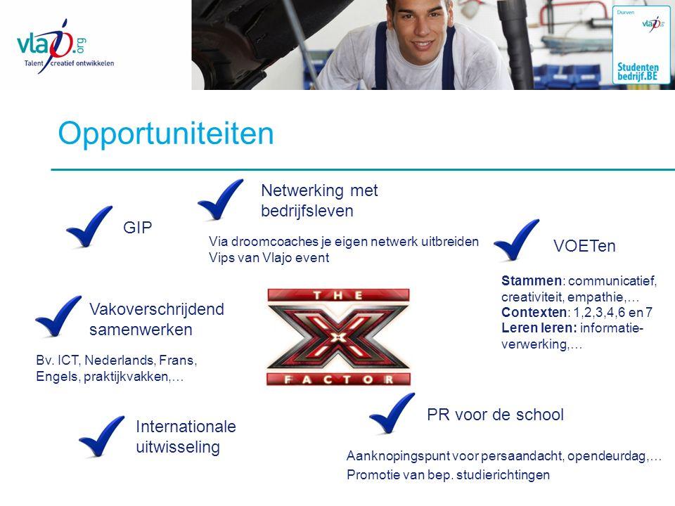 Opportuniteiten Netwerking met bedrijfsleven Via droomcoaches je eigen netwerk uitbreiden Vips van Vlajo event VOETen Stammen: communicatief, creativi