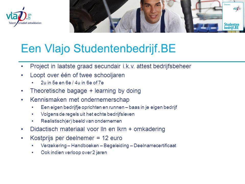 Een Vlajo Studentenbedrijf.BE Project in laatste graad secundair i.k.v. attest bedrijfsbeheer Loopt over één of twee schooljaren 2u in 5e en 6e / 4u i