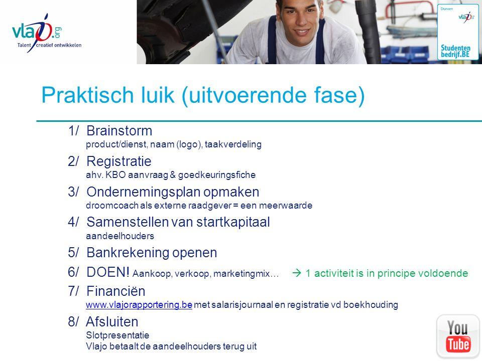 Praktisch luik (uitvoerende fase) 1/ Brainstorm product/dienst, naam (logo), taakverdeling 2/ Registratie ahv. KBO aanvraag & goedkeuringsfiche 3/ Ond
