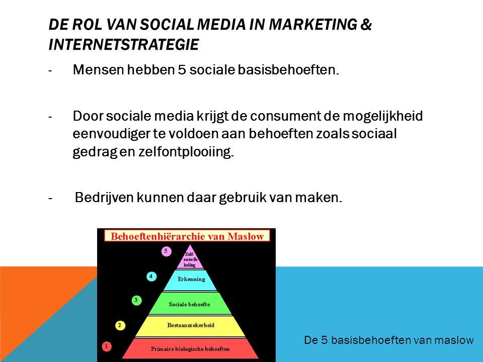 DE ROL VAN SOCIAL MEDIA IN MARKETING & INTERNETSTRATEGIE -Mensen hebben 5 sociale basisbehoeften. -Door sociale media krijgt de consument de mogelijkh