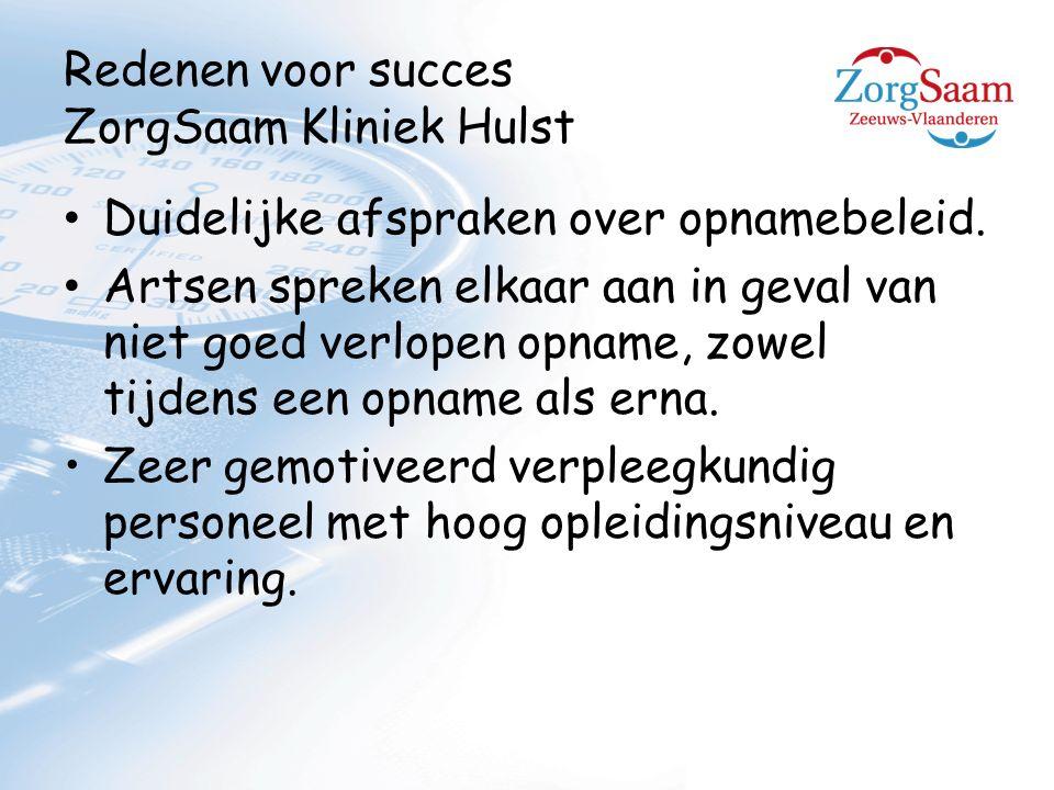 Redenen voor succes ZorgSaam Kliniek Hulst Duidelijke afspraken over opnamebeleid.