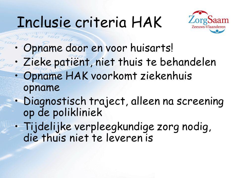 Inclusie criteria HAK Opname door en voor huisarts.