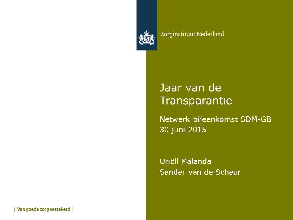 Jaar van de Transparantie Netwerk bijeenkomst SDM-GB 30 juni 2015 Uriëll Malanda Sander van de Scheur