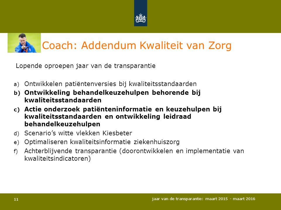 11 Coach: Addendum Kwaliteit van Zorg Lopende oproepen jaar van de transparantie a) Ontwikkelen patiëntenversies bij kwaliteitsstandaarden b) Ontwikke