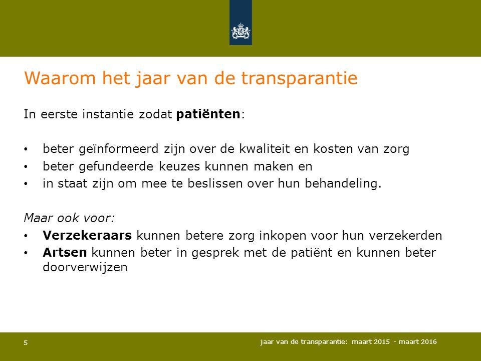 5 Waarom het jaar van de transparantie In eerste instantie zodat patiënten: beter geïnformeerd zijn over de kwaliteit en kosten van zorg beter gefunde