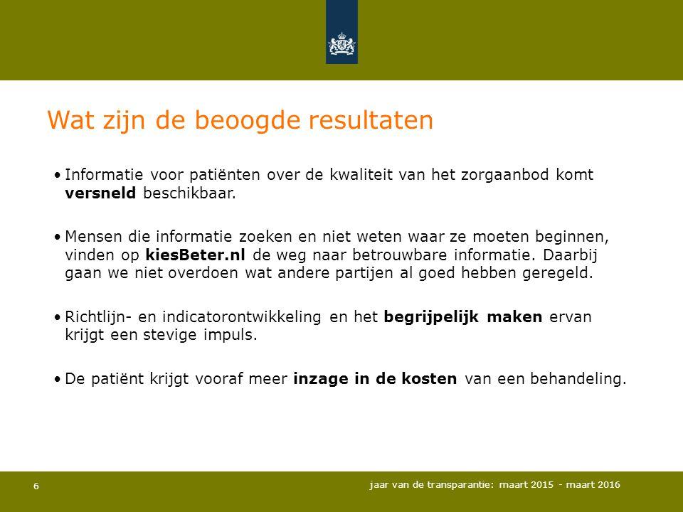 6 Informatie voor patiënten over de kwaliteit van het zorgaanbod komt versneld beschikbaar. Mensen die informatie zoeken en niet weten waar ze moeten