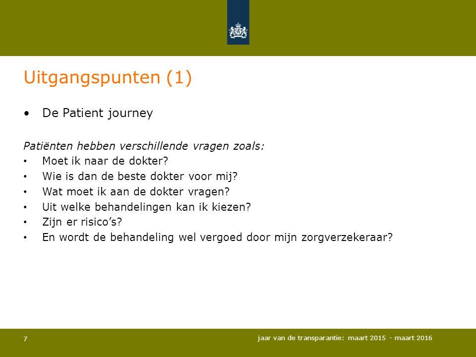 7 Uitgangspunten (1) De Patient journey Patiënten hebben verschillende vragen zoals: Moet ik naar de dokter? Wie is dan de beste dokter voor mij? Wat
