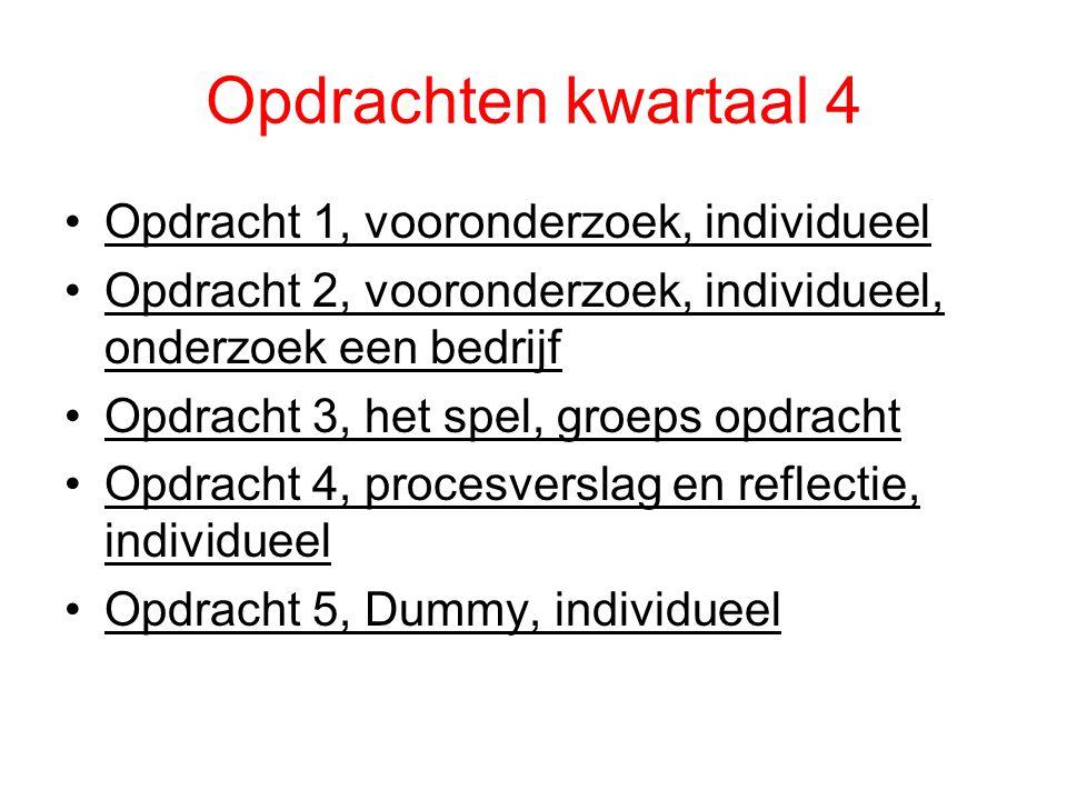 Opdrachten kwartaal 4 Opdracht 1, vooronderzoek, individueel Opdracht 2, vooronderzoek, individueel, onderzoek een bedrijf Opdracht 3, het spel, groep