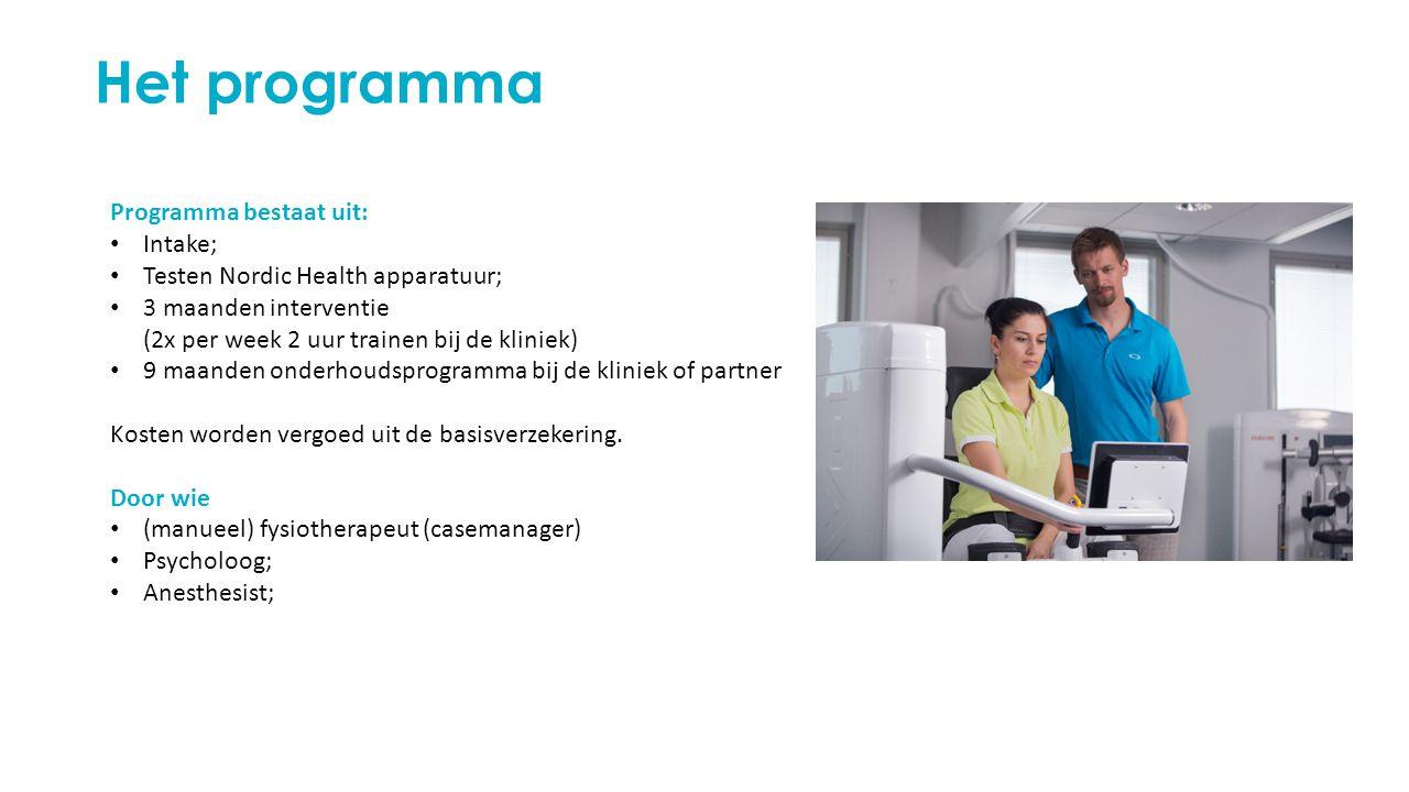 Het programma Programma bestaat uit: Intake; Testen Nordic Health apparatuur; 3 maanden interventie (2x per week 2 uur trainen bij de kliniek) 9 maanden onderhoudsprogramma bij de kliniek of partner Kosten worden vergoed uit de basisverzekering.