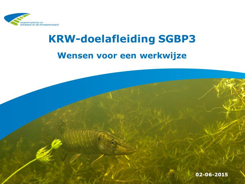 KRW-doelafleiding SGBP3 02-06-2015 Wensen voor een werkwijze