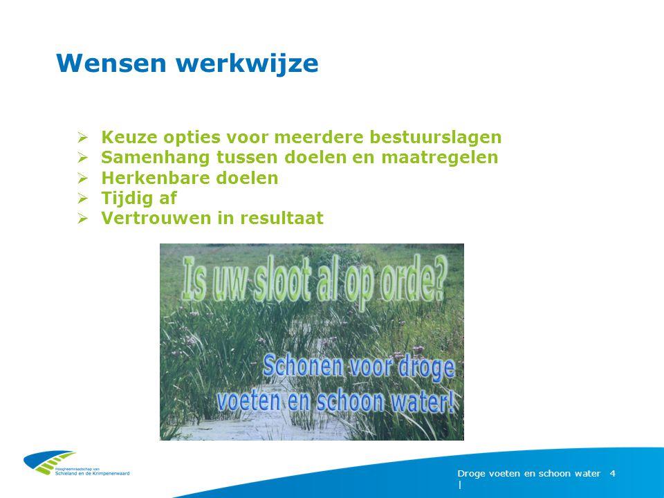 Droge voeten en schoon water | 4  Keuze opties voor meerdere bestuurslagen  Samenhang tussen doelen en maatregelen  Herkenbare doelen  Tijdig af  Vertrouwen in resultaat Wensen werkwijze