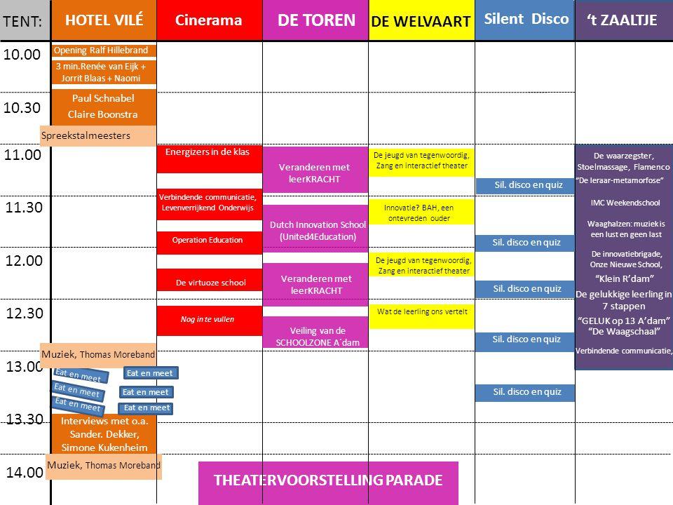 10.00 10.30 11.00 11.30 12.00 12.30 13.00 13.30 14.00 HOTEL VILÉ Cinerama 't ZAALTJE DE WELVAART DE TOREN Silent Disco 3 min.Renée van Eijk + Jorrit Blaas + Naomi Paul Schnabel Claire Boonstra De jeugd van tegenwoordig, Zang en interactief theater Waaghalzen: muziek is een lust en geen last De innovatiebrigade, Onze Nieuwe School, Klein R'dam Interviews met o.a.