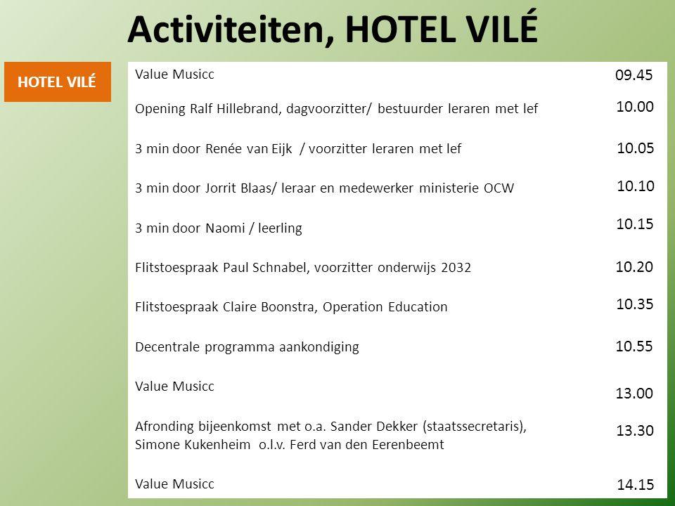 HOTEL VILÉ 3 min door Renée van Eijk / voorzitter leraren met lef Activiteiten, HOTEL VILÉ 3 min door Jorrit Blaas/ leraar en medewerker ministerie OC