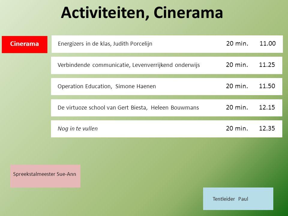 Activiteiten, Cinerama Energizers in de klas, Judith Porcelijn 11.00 20 min.