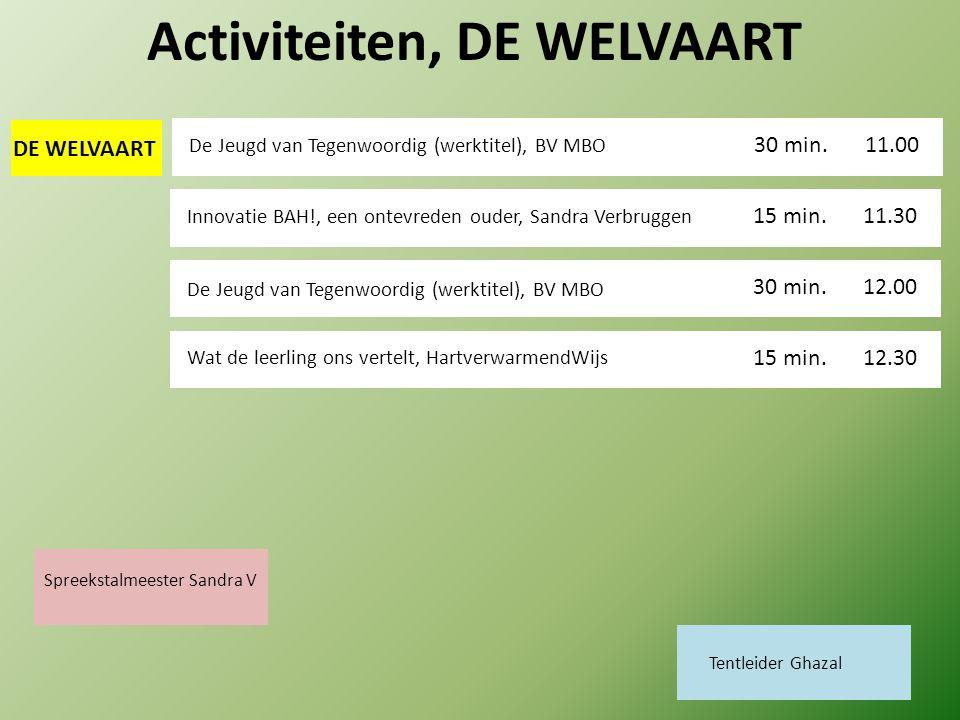 DE WELVAART Activiteiten, DE WELVAART De Jeugd van Tegenwoordig (werktitel), BV MBO 11.00.00 30 min. 11.30 15 min. Innovatie BAH!, een ontevreden oude