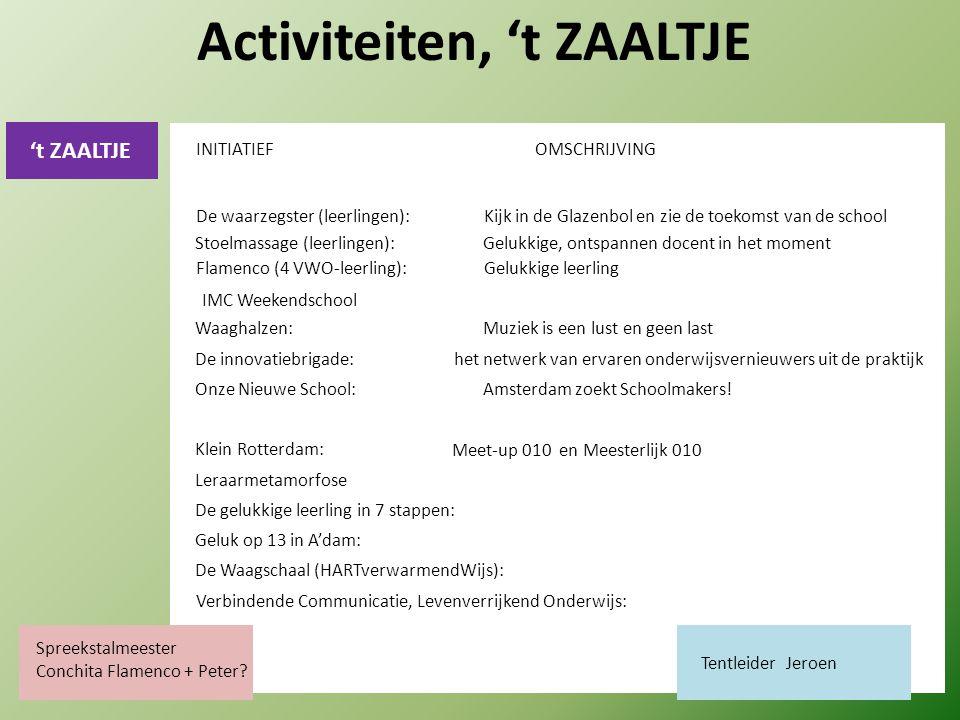 't ZAALTJE Activiteiten, 't ZAALTJE De waarzegster (leerlingen):Kijk in de Glazenbol en zie de toekomst van de school Stoelmassage (leerlingen):Gelukkige, ontspannen docent in het moment Waaghalzen:Muziek is een lust en geen last De innovatiebrigade: het netwerk van ervaren onderwijsvernieuwers uit de praktijk Onze Nieuwe School:Amsterdam zoekt Schoolmakers.