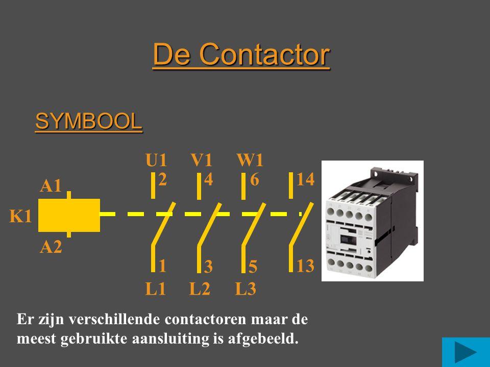 SYMBOOL A1 A2 1 2 35 4614 L1L2L3 K1 Er zijn verschillende contactoren maar de meest gebruikte aansluiting is afgebeeld. De Contactor 13 U1 V1 W1