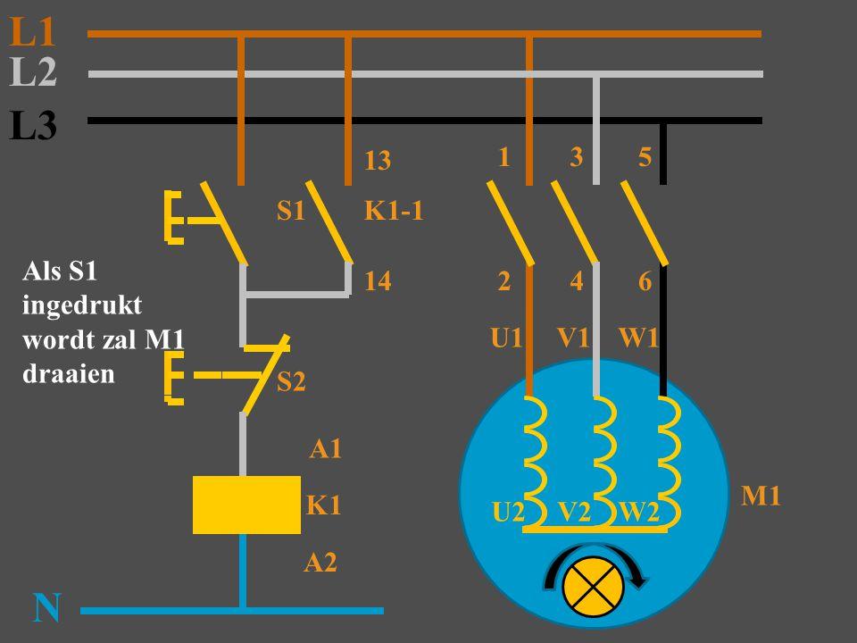 L3 S1 K1 N S2 K1-1 13 14 M1 2 A1 A2 Als S1 ingedrukt wordt zal M1 draaien L2 L1 135 46 U1V1W1 W2 V2 U2