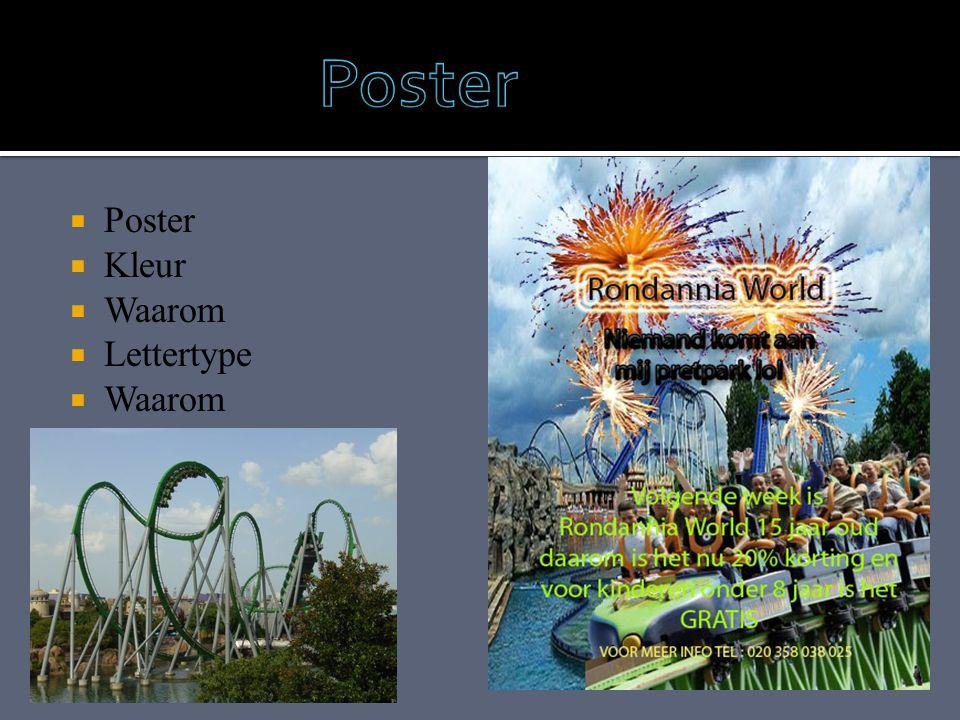  Poster  Kleur  Waarom  Lettertype  Waarom