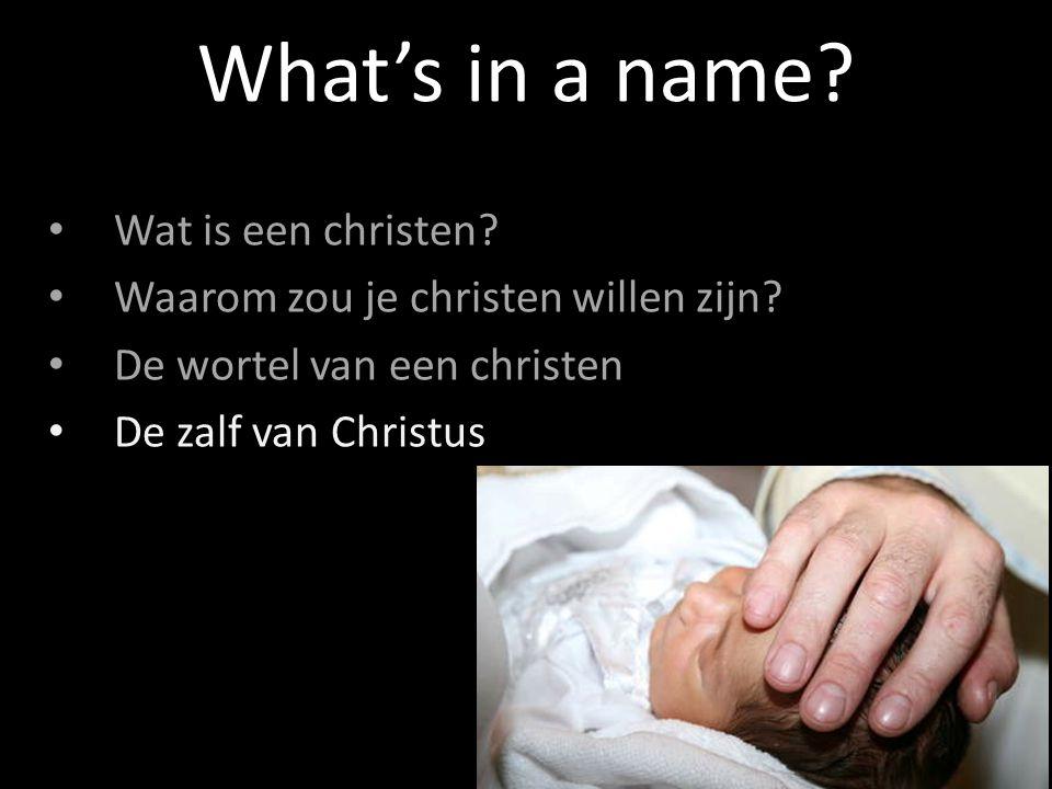 Wat is een christen? Waarom zou je christen willen zijn? De wortel van een christen De zalf van Christus What's in a name?
