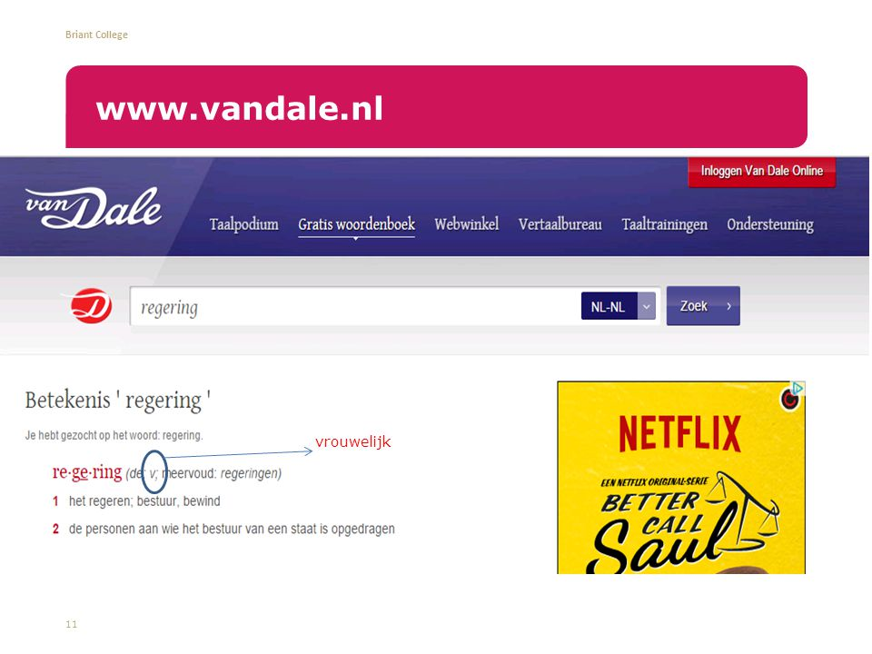 Briant College 11 www.vandale.nl vrouwelijk