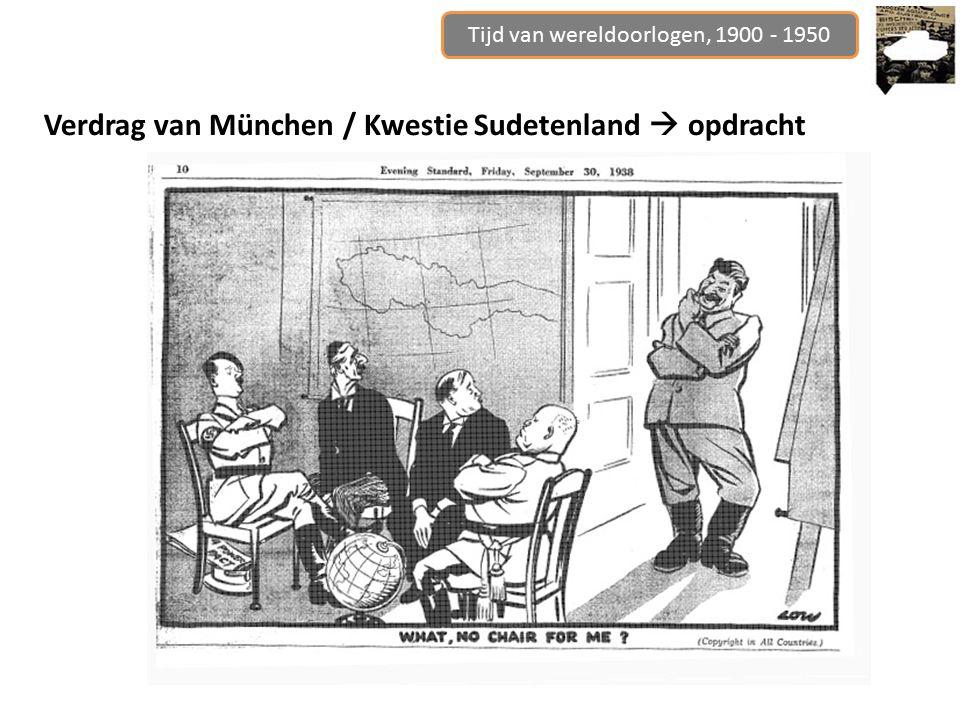 Tijd van wereldoorlogen, 1900 - 1950 Verdrag van München / Kwestie Sudetenland  opdracht