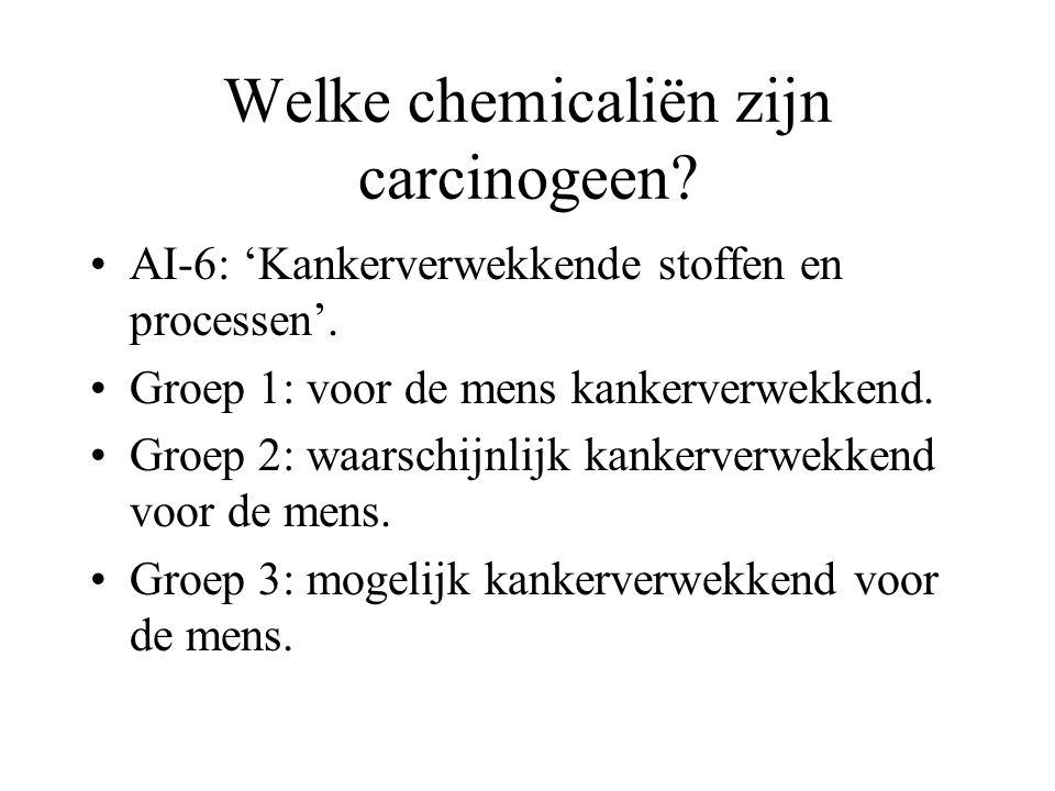 Welke chemicaliën zijn carcinogeen? AI-6: 'Kankerverwekkende stoffen en processen'. Groep 1: voor de mens kankerverwekkend. Groep 2: waarschijnlijk ka