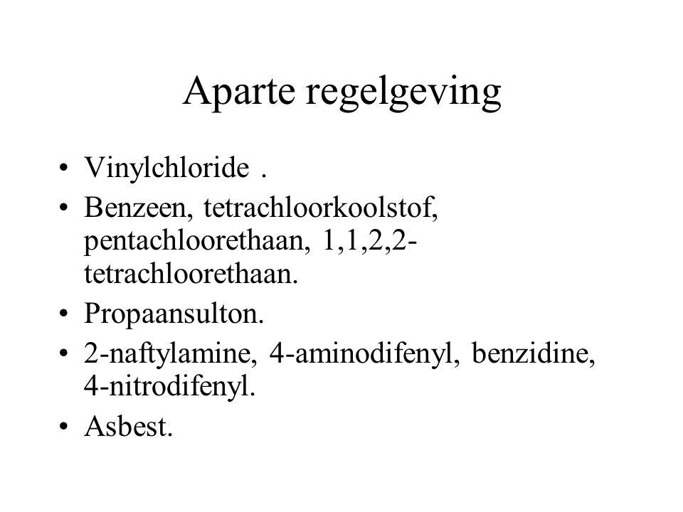 Aparte regelgeving Vinylchloride. Benzeen, tetrachloorkoolstof, pentachloorethaan, 1,1,2,2- tetrachloorethaan. Propaansulton. 2-naftylamine, 4-aminodi