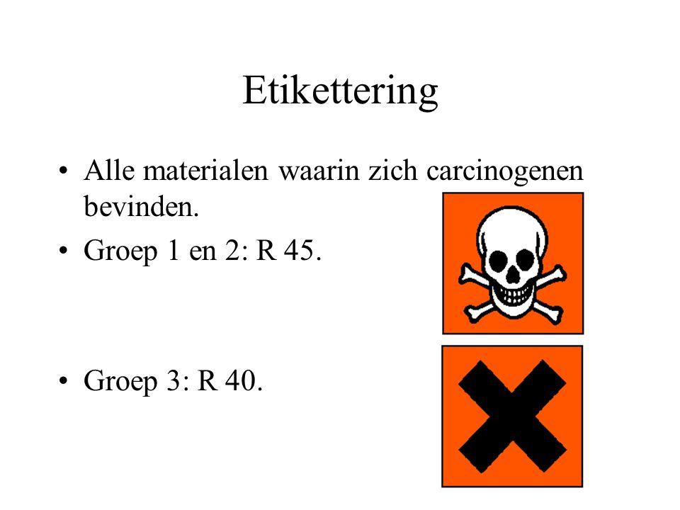 Etikettering Alle materialen waarin zich carcinogenen bevinden. Groep 1 en 2: R 45. Groep 3: R 40.
