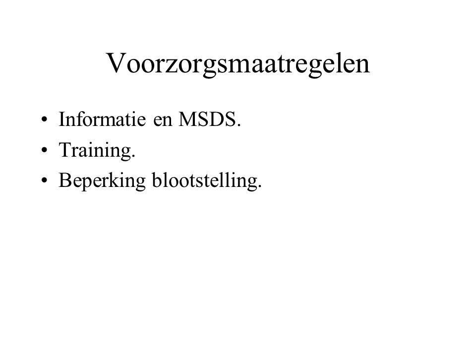 Voorzorgsmaatregelen Informatie en MSDS. Training. Beperking blootstelling.