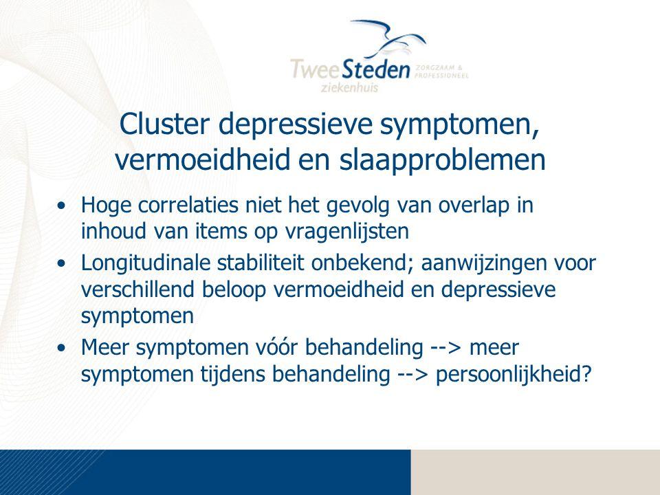 Cluster depressieve symptomen, vermoeidheid en slaapproblemen Hoge correlaties niet het gevolg van overlap in inhoud van items op vragenlijsten Longit