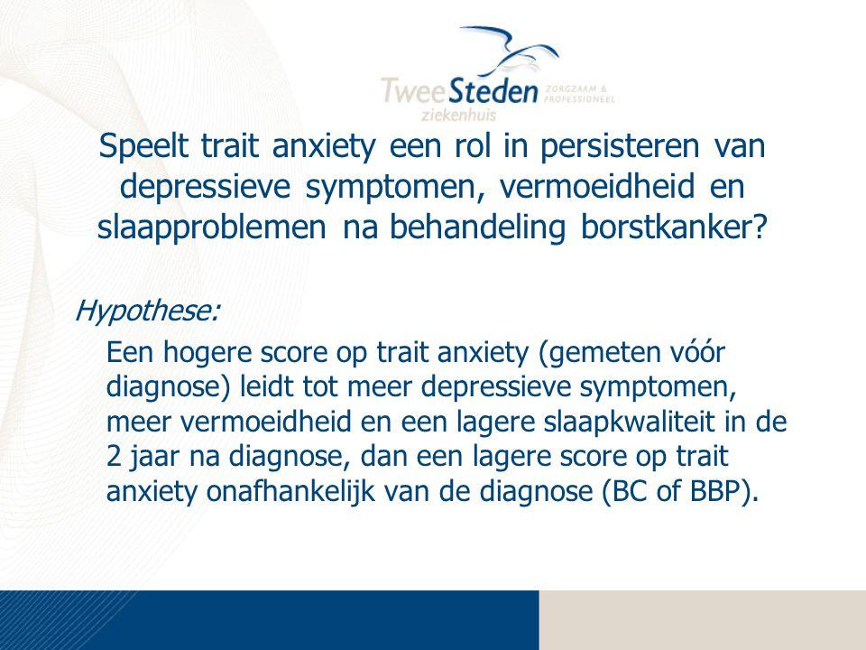Speelt trait anxiety een rol in persisteren van depressieve symptomen, vermoeidheid en slaapproblemen na behandeling borstkanker? Hypothese: Een hoger