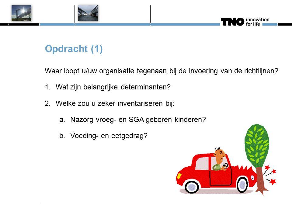 Opdracht (1) Waar loopt u/uw organisatie tegenaan bij de invoering van de richtlijnen? 1.Wat zijn belangrijke determinanten? 2.Welke zou u zeker inven