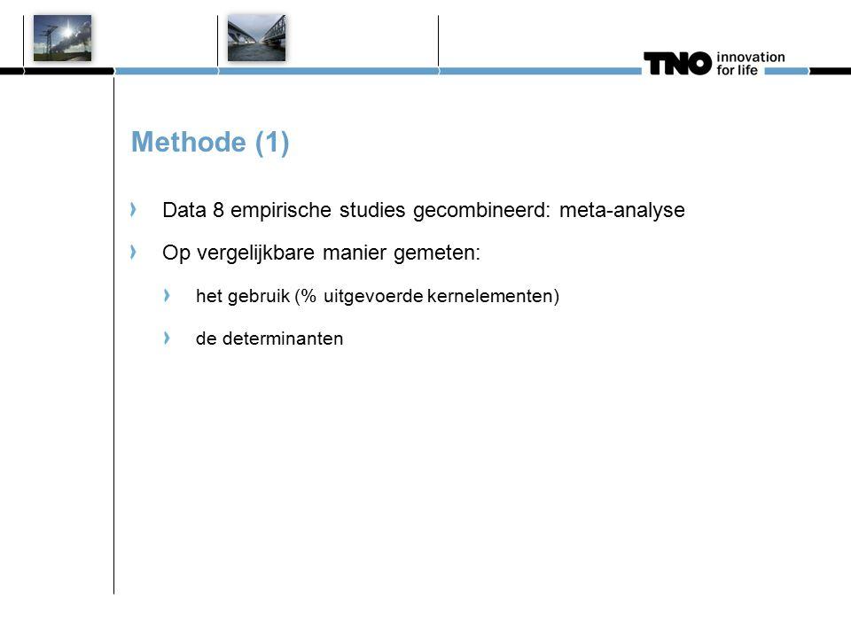 Methode (1) Data 8 empirische studies gecombineerd: meta-analyse Op vergelijkbare manier gemeten: het gebruik (% uitgevoerde kernelementen) de determi