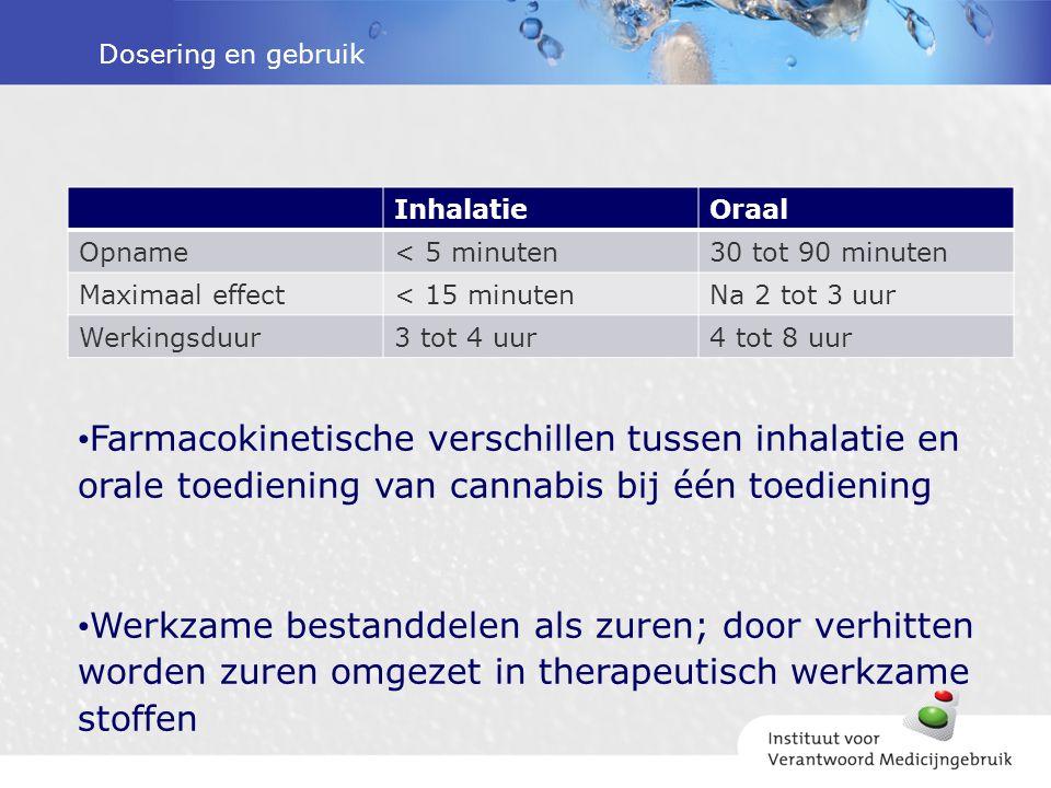 Dosering en gebruik InhalatieOraal Opname< 5 minuten30 tot 90 minuten Maximaal effect< 15 minutenNa 2 tot 3 uur Werkingsduur3 tot 4 uur4 tot 8 uur Far