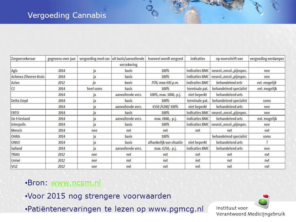 Vergoeding Cannabis Bron: www.ncsm.nlwww.ncsm.nl Voor 2015 nog strengere voorwaarden Patiëntenervaringen te lezen op www.pgmcg.nl