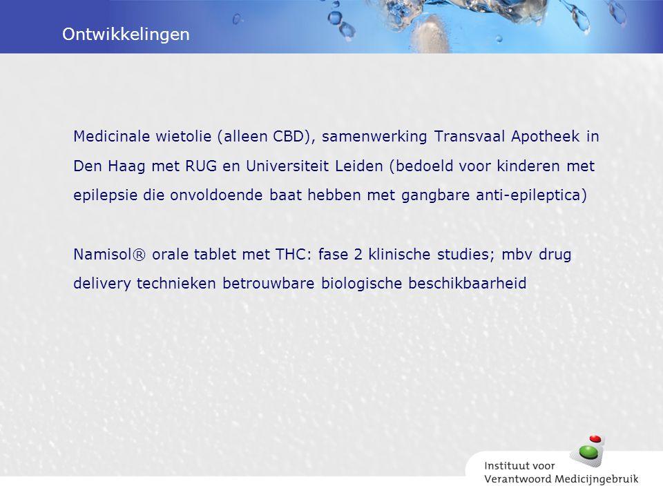 Ontwikkelingen Medicinale wietolie (alleen CBD), samenwerking Transvaal Apotheek in Den Haag met RUG en Universiteit Leiden (bedoeld voor kinderen met
