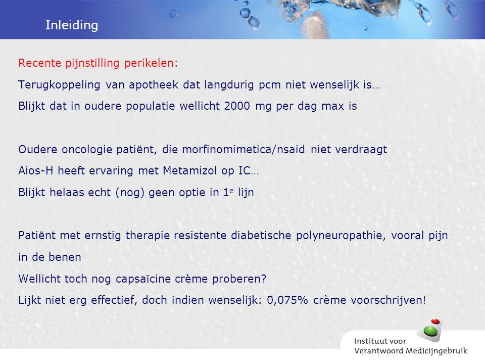 Inleiding Recente pijnstilling perikelen: Terugkoppeling van apotheek dat langdurig pcm niet wenselijk is… Blijkt dat in oudere populatie wellicht 200