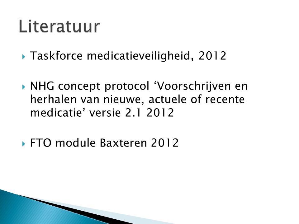  Taskforce medicatieveiligheid, 2012  NHG concept protocol 'Voorschrijven en herhalen van nieuwe, actuele of recente medicatie' versie 2.1 2012  FTO module Baxteren 2012