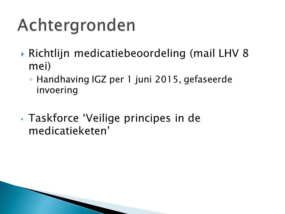  Richtlijn medicatiebeoordeling (mail LHV 8 mei) ◦ Handhaving IGZ per 1 juni 2015, gefaseerde invoering Taskforce 'Veilige principes in de medicatieketen'