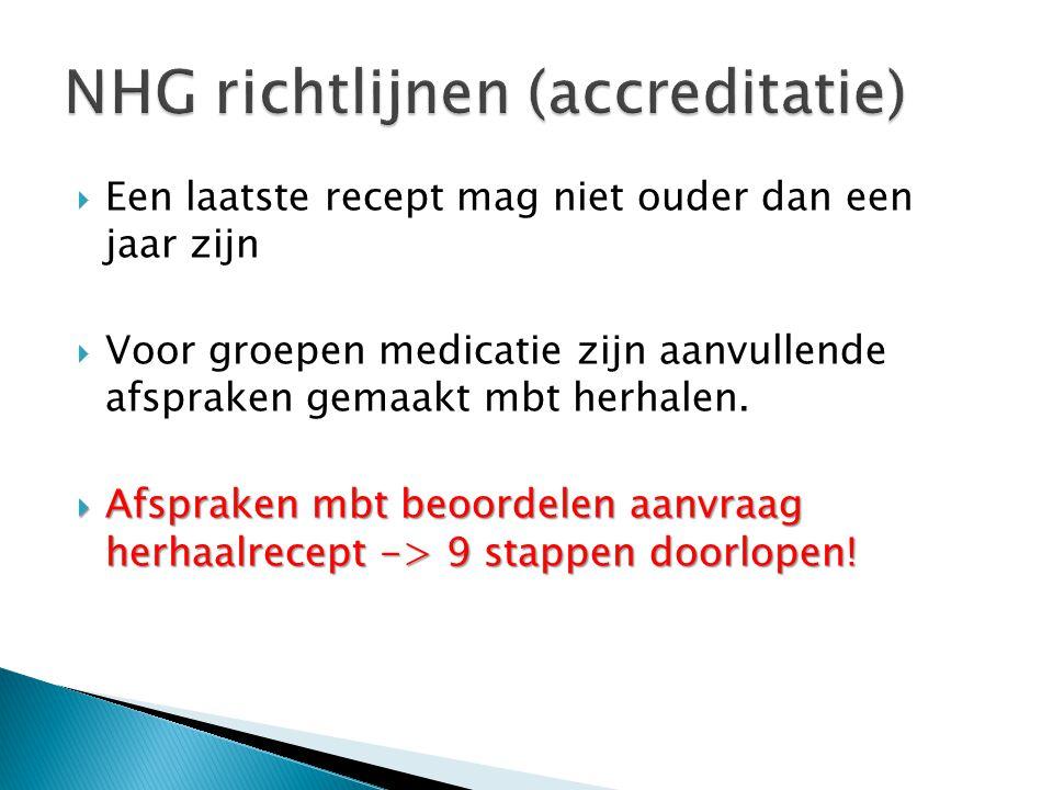  Een laatste recept mag niet ouder dan een jaar zijn  Voor groepen medicatie zijn aanvullende afspraken gemaakt mbt herhalen.