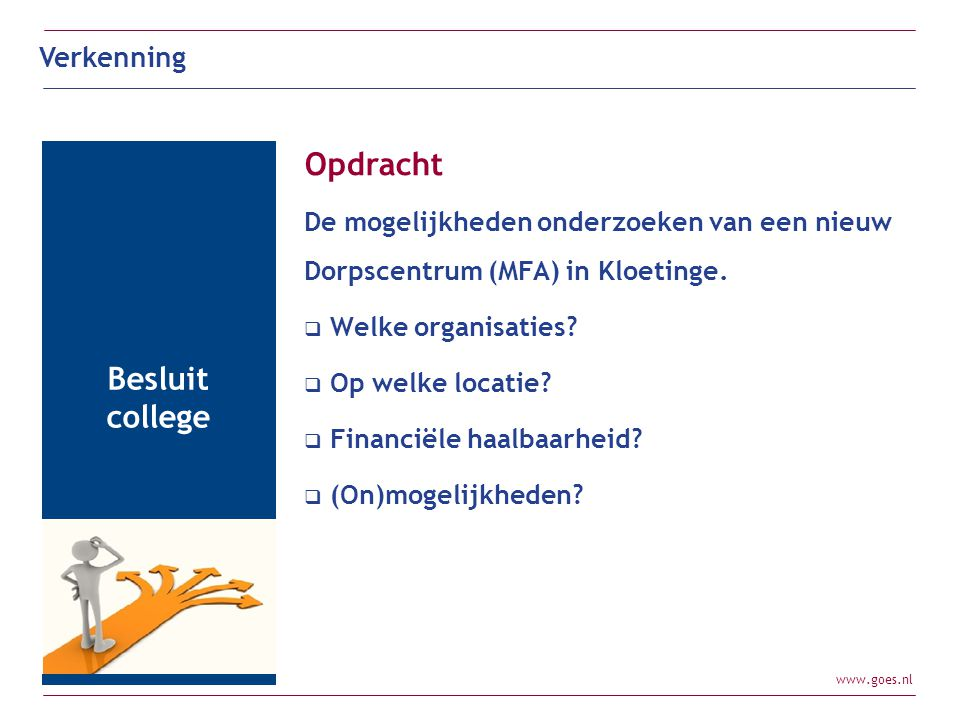 www.goes.nl Opdracht De mogelijkheden onderzoeken van een nieuw Dorpscentrum (MFA) in Kloetinge.  Welke organisaties?  Op welke locatie?  Financiël