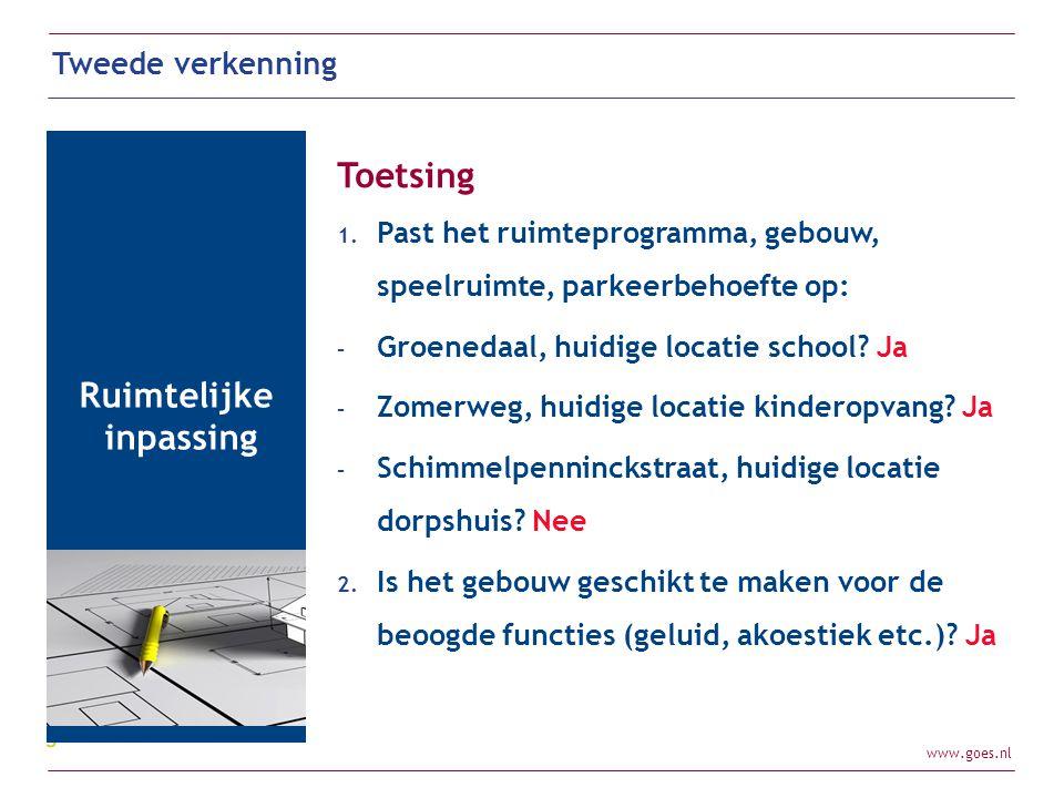 www.goes.nl Tweede verkenning Ruimtelijke inpassing Toetsing 1. Past het ruimteprogramma, gebouw, speelruimte, parkeerbehoefte op: - Groenedaal, huidi