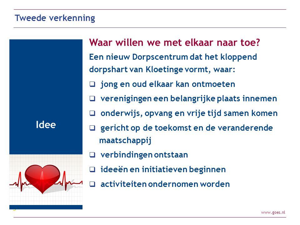 www.goes.nl Tweede verkenning Idee Waar willen we met elkaar naar toe? Een nieuw Dorpscentrum dat het kloppend dorpshart van Kloetinge vormt, waar: 