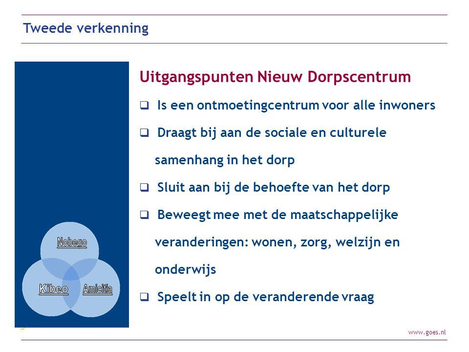 www.goes.nl Tweede verkenning Uitgangspunten Nieuw Dorpscentrum  Is een ontmoetingcentrum voor alle inwoners  Draagt bij aan de sociale en culturele