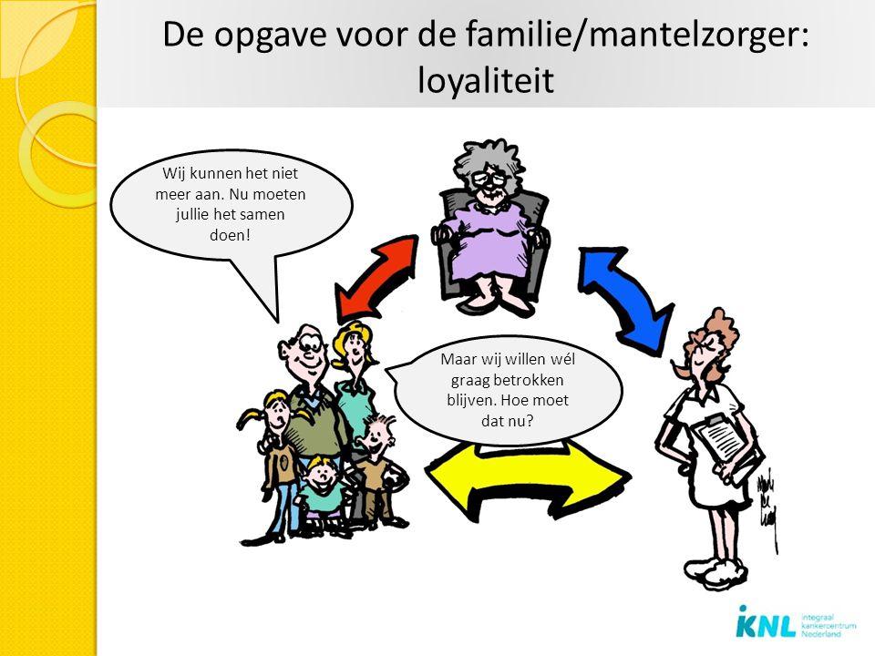 De opgave voor de familie/mantelzorger: loyaliteit Wij kunnen het niet meer aan.