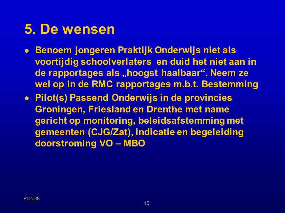 © 2008 14 4. De Verbeterpunten De actiethema's van actieplan VSV provincie Groningen zijn A1.