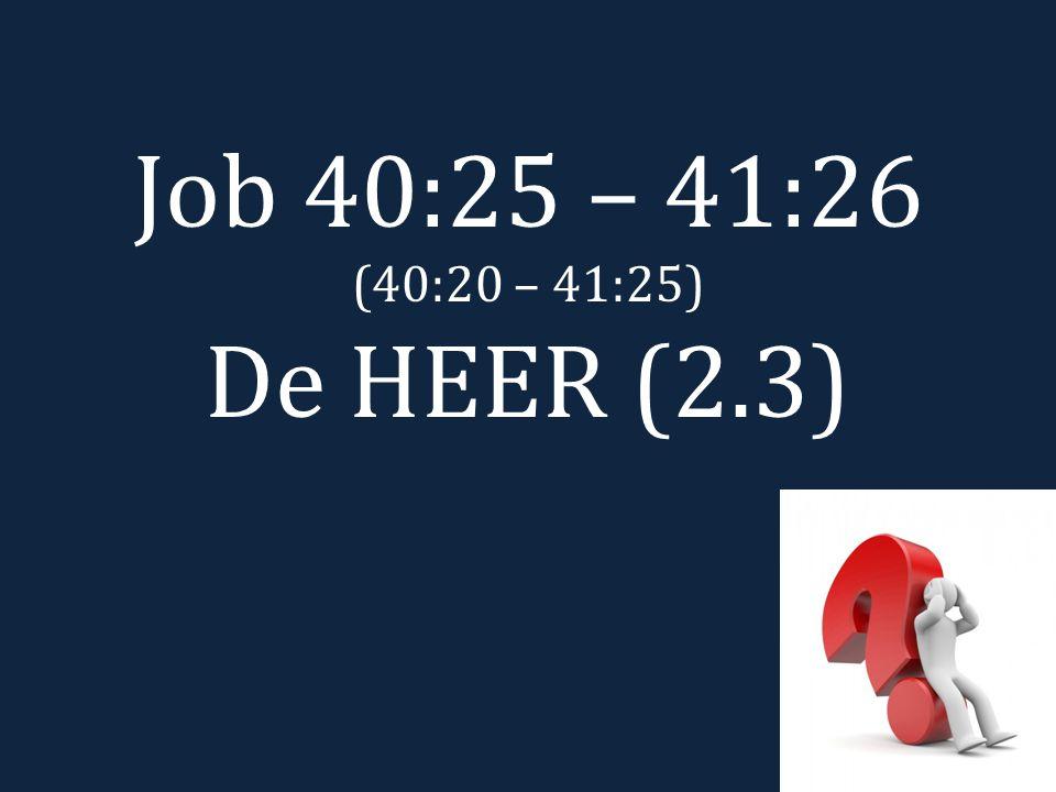 Job 40:25 – 41:26 (40:20 – 41:25) De HEER (2.3)